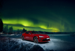 toyota, winter, sky, aurora borealis, cars, nature wallpaper