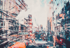 abstract, doubleexposure, new york city, detailed, anime wallpaper
