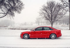 audi s4, audi, cars, snow, winter, red car wallpaper