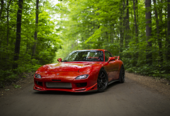 mazda rx-7, red car, cars, forest, mazda wallpaper