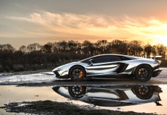 lamborghini, cars, sunset, reflection, lamborghini aventador silver chrome, lamborghini aventador wallpaper