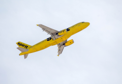 spirit airlines, sky, plane, takeoff, yellow aircraft, airbus a320-200, airbus, airbus a320, n608nk wallpaper