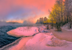 nature, landscape, winter, river, snow, trees, steam, sunset wallpaper
