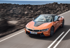 2018 bmw i8 roadster, bmw i8, cars, bmw, orange car wallpaper
