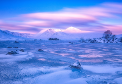 clouds, scotland, winter, mountains, snow, stones, swamp, plain, ice, rannoch moor, nature wallpaper