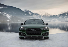 audi, cars, winter, lake, mountains, nature, green car, audi rs4 wallpaper