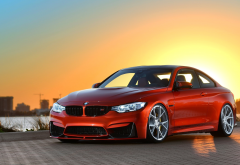 bmw m4, sunset, bmw, cars, red car wallpaper