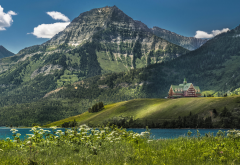 waterton lake, prince of wales hotel, alberta, canada, british columbia, nature, mountains wallpaper