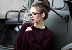 girl, portrait, car, cargo, women, brunette, glasses, sweater wallpaper