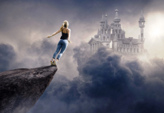 women, girl, rock, sky, clouds, castle, 3d graphics wallpaper