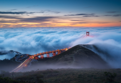 golden gate bridge, fog, san francisco, lights, usa, city wallpaper