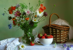 flowers, cosiness, table, basket, fruits, strawberry wallpaper