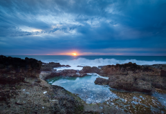 nature, landscape, sea, stones, surf, morning, sun, sunrise, clouds wallpaper