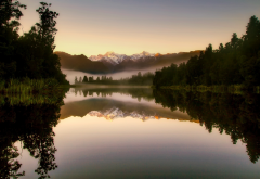 new zealand, nature, landscape, mountains, lake, forest, morning, fog, reflection wallpaper