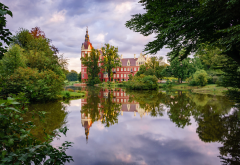 nature, germany, saxony, city, park, castle, pond, badmaskau wallpaper