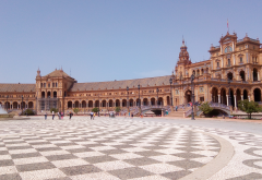 plaza de espana, architecture, city, seville, spain wallpaper