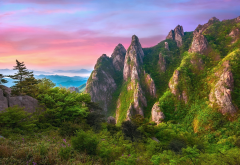 yeongam, south korea, nature, landscape, mountains, rocks, trees, bushes, sunset wallpaper