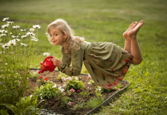 child, girl, smiling, dress, levitation, nature, summer, flowerbed, flowers, chamomile, watering can wallpaper
