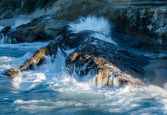 california, rocks, waves, splash, sea, ocean, nature wallpaper