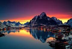 lofoten, nature, city, mountains, reflection, norway wallpaper