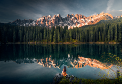 karersee, south tyrol, dolomites, nature, landscape, italy, lake, reflection, mountains, forest, women wallpaper