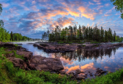 kiiminki, nature, landscape, forest, river, stones, dawn, finland, trees, island, reflection, morning wallpaper