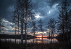 sunset, lake, trees, sky, clouds, forest, nature wallpaper