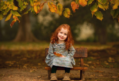 baby, girl, redhead, smile, nature, autumn, leaves, bench wallpaper