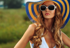 sunglasses, sun hats, redhead, cleavage, depth of field, girl, woman wallpaper