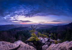 panorama, sunset, mountains, trees, saxony, switzerland, lilienstein, keningstein, rauenstein wallpaper