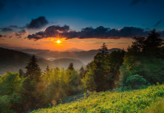 usa, northern carolina, mountains, nature, landscape, dawn, morning, sun rays wallpaper