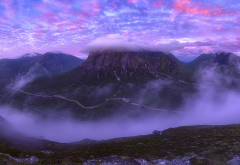 mountains, clouds, peak, scotland, purple sky, nature wallpaper