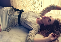 Scarlett Johansson, dress, white dress, lying on back, belt, actress, woman wallpaper