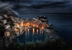 city, cityscape, Cinque Terre, Italy, night, stars, sea, boat, building, dock wallpaper