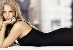 Marloes Horst, model, blonde, lying on front, black dresses, gray eyes, long hair, juicy lips, women wallpaper