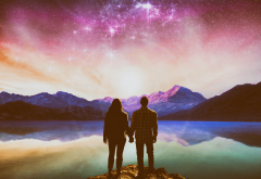 artwork, lake, couples, landscape, stars wallpaper