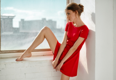 women, auburn hair, dress, red dress, legs, painted nails, black nails, window, window sill, long le wallpaper