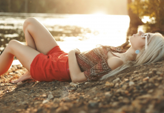 blonde, earrings, painted nails, lying on back, sunglasses, red clothing, bent legs wallpaper