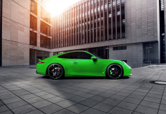 car, Porsche, Porsche 911 Carrera 4S, Porsche 911, green wallpaper