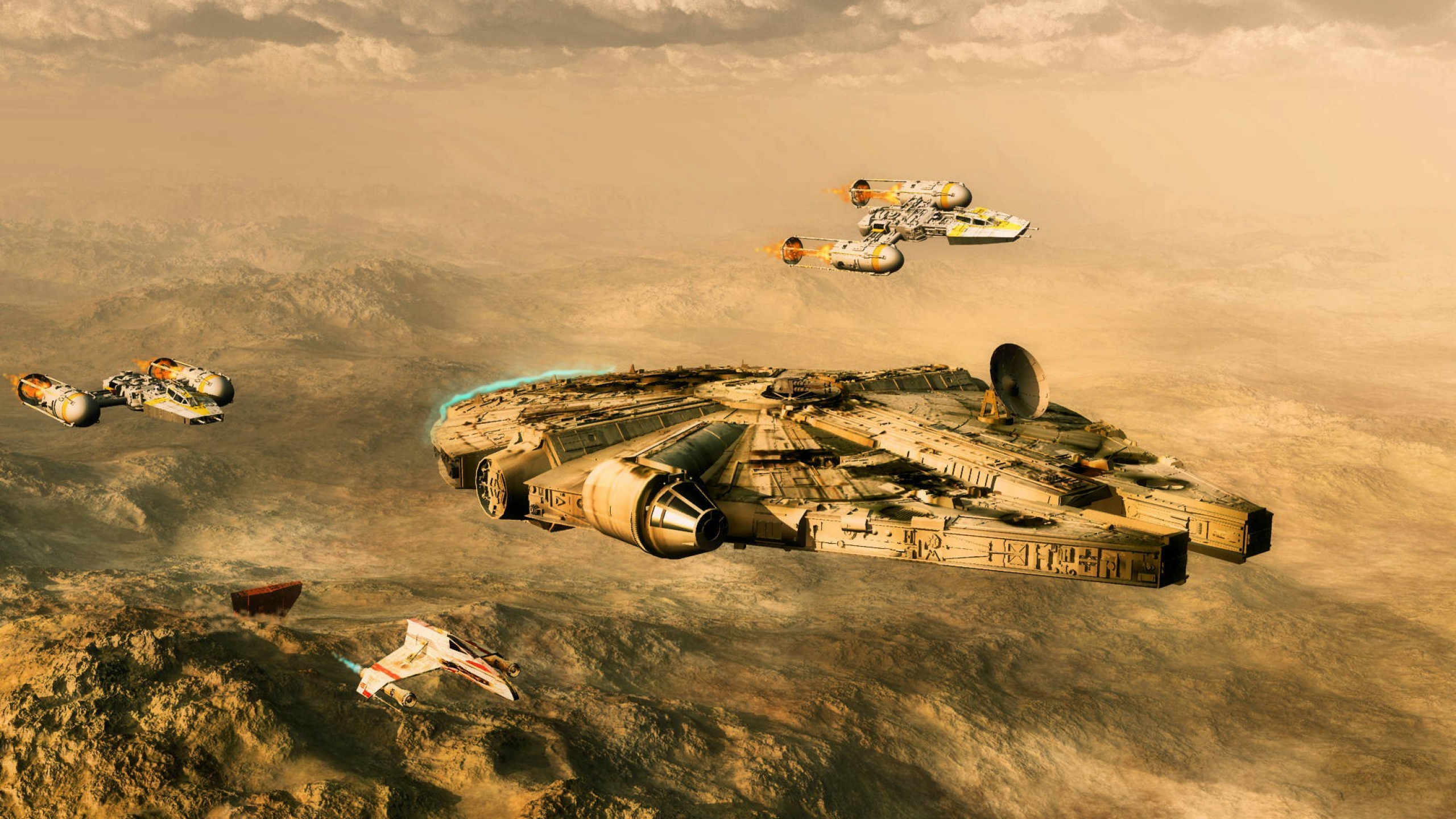 Download 2560x1440 Star Wars Millennium Falcon Y Wing Wallpapers