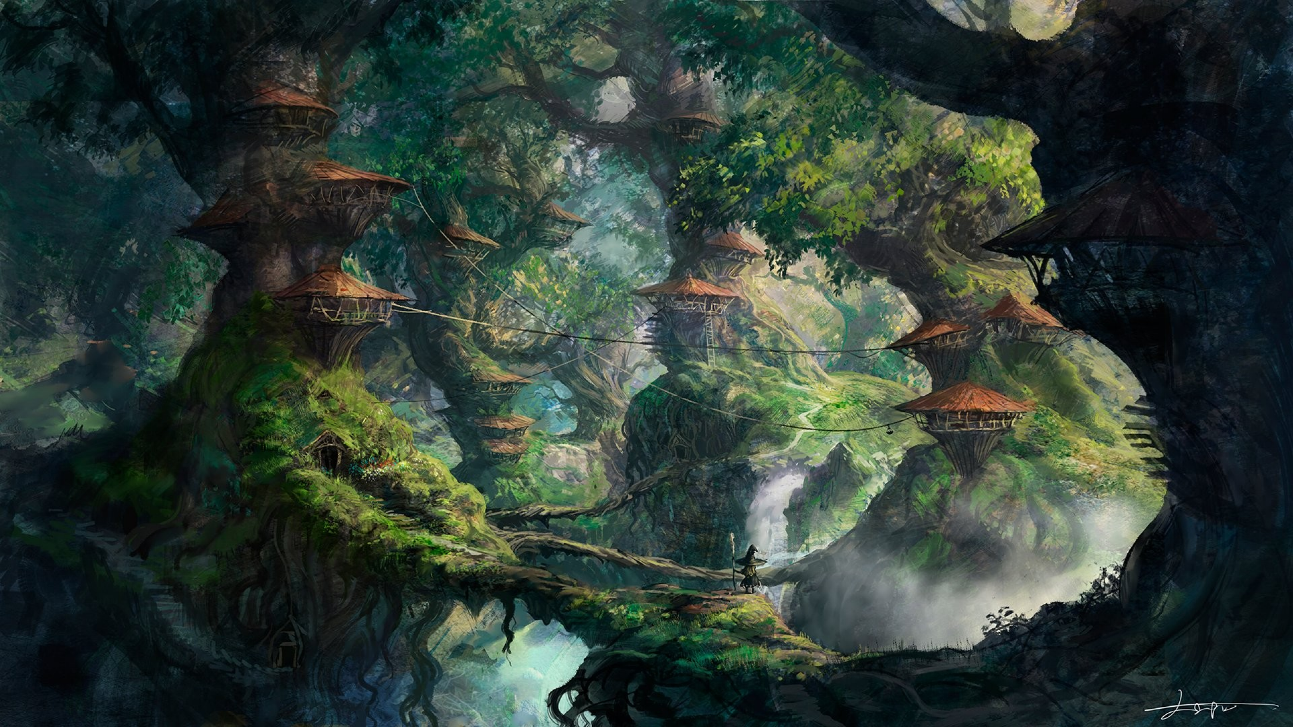 Download 2560x1440 fantasy art wizard forest trees for Home wallpaper jungle