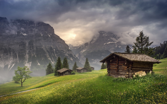 2200x1375 pix. Wallpaper Switzerland, Grindelwald, nature, landscape, mountain, huts, clouds, trees, grass, sunrise