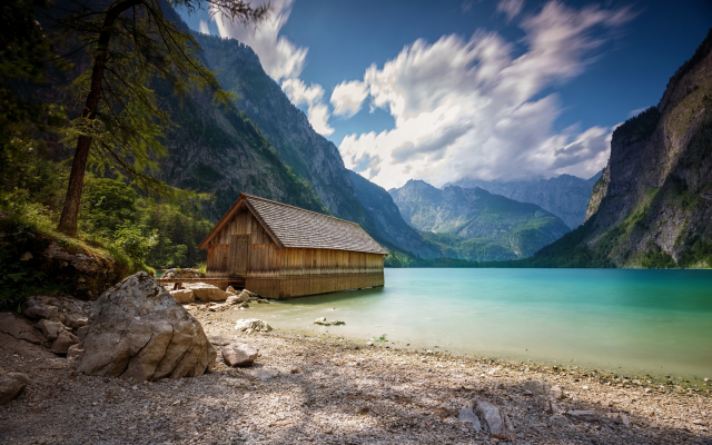 2200x1375 pix. Wallpaper landscape, nature, boathouses, lake, summer, mountain, Alps, clouds, trees, beach