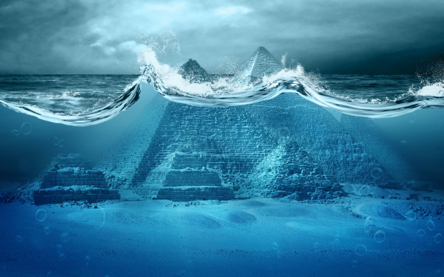 2880x1800 pix. Wallpaper Pyramids of Giza, egypt, digital art, pyramids, water, underwater, waves, bubbles, sea