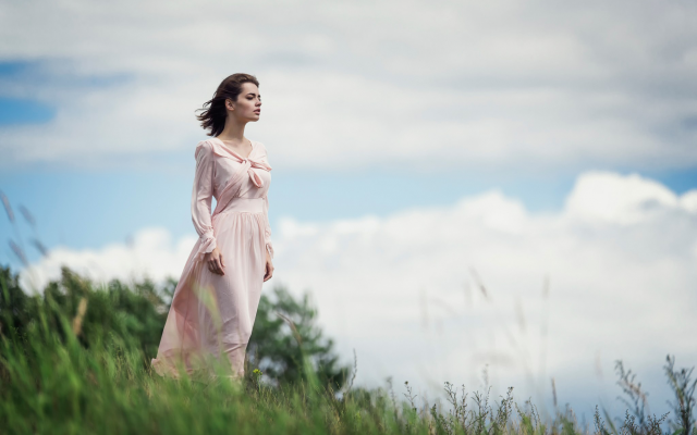 2048x1367 pix. Wallpaper women, women outdoors, dress, wind