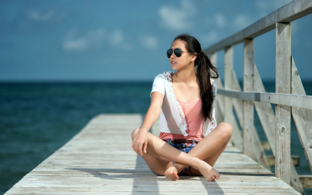 2560x1600 pix. Wallpaper women, brunette, sunglasses, dock, shorts, sea, pier, ocean, asian