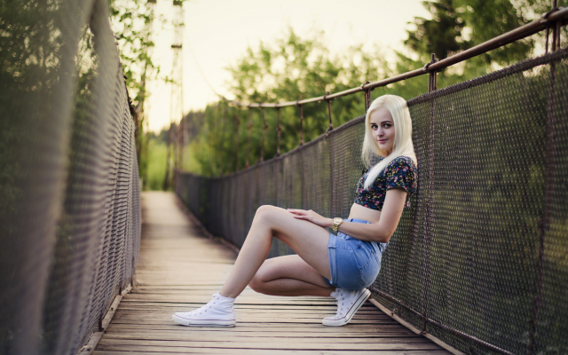 2048x1345 pix. Wallpaper women, blonde, shoes, jean shorts, smiling, bridge, legs