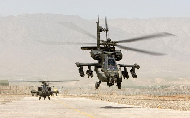 2560x1600 pix. Wallpaper Boeing, AH-64, Apache, helicopter, military aircraft, desert, aviation
