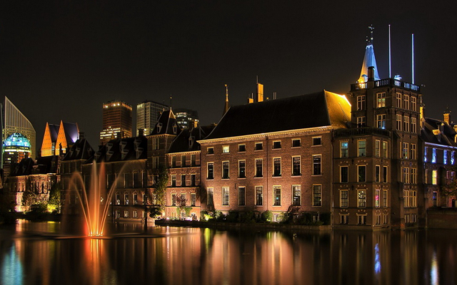 1920x1080 pix. Wallpaper architecture, building, water, reflection, night, lights, old building, fountain
