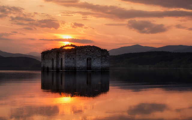 1920x1080 pix. Wallpaper Bulgaria, water, Sun, reflection, clouds, lake, old building, ruin, church, hill, nature, landscape